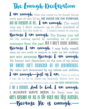 The Enough Declaration Printable