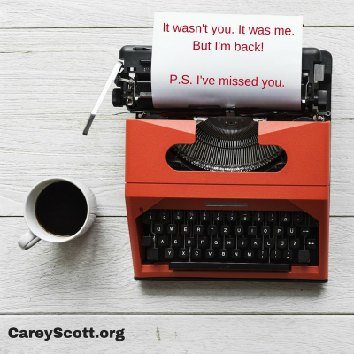 Carey Scott Unsilenced: clumsily clamoring back onto the blog (plus a big announcement)